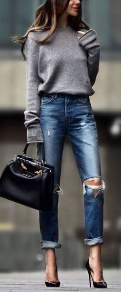 ripped jeans with gray sweater and black pointy pumps