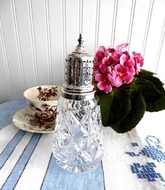 Sugar Shaker Caster Lead Crystal Gothic Sterling Top Muffinneer Englis – Antiques And Teacups