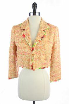 Walter Orange Cotton Cropped Floral Ruffle Silk Trim Blazer Jacket Suit M 8   eBay