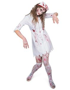 Karnival Women's Zombie Night Nurse Costume Set-Perfect for Halloween, Costume Party Accessory. Trick or Treating