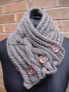 Your place to buy and sell all things handmade Alpaca Scarf, Wool Scarf, Warm Grey, Neck Scarves, Neck Warmer, Cosy, Hand Knitting, Cable, Buttons
