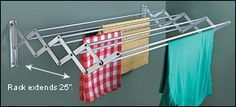 Accordion-Style Drying Racks - ade in Spain, these well-made racks are practical alternatives to conventional clothes dryers. Designed for efficient use of space, they can be retracted to remain unobtrusive when not in use. The drying racks are usable indoors or out. Mounting hardware included.  $59.50 - 66.50