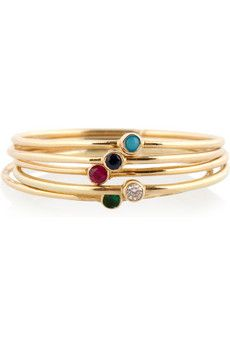 Jennifer Meyer multi-stone thin rings in 18k yellow gold