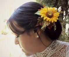autumn sunflower hair clip fall harvest by rosesandlemons 20 00