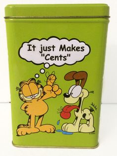Garfield & Odie Tin Bank It Just Makes Cents Piggy Bank Vintage Canister by ThriftyTheresa