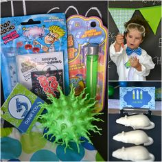 The party favors were Mad Scientist totes for the girls and fabric string bag for the boys filled with pop rock magic potion, bubbles in test tubes and glow in the dark bouncy balls.