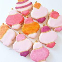 Mini ornament sugar cookies by Tammy Holmes. #sugarcookies  #decoratedcookies #orangeandpink #chicsweets #pretty #orange #pink #color #schemes #modern #desserts #desserttable #bridal #shower