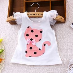 BibiCola Baby Summer Casual Clothes Set Children Short Sleeve Cartoon cat dot T-shirt + Shorts Sport Suit Clothing Sets for Girl – Kid Shop Global – Kids & Baby Shop Online – baby & kids clothing, toys for baby & kid - Babykleidung Baby Outfits, Kids Outfits, Summer Outfits, Little Girl Fashion, Kids Fashion, Fashion Outfits, Fashion Clothes, Sewing Shirts, Baby Shop Online