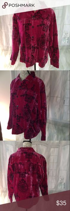 """Chico's 2 Large Pink Velvet Embroidered Jacket Made out of a rayon/silk blend and embroidered with rayon and cotton. Lined with polyester. Dry Clean Only. A Chico's size 2 equals a large size 12. 24"""" long, 23"""" bust armpit to armpit, 22.5"""" sleeve Chico's Jackets & Coats"""