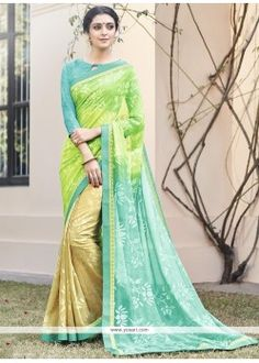 Magnificent Multi Colour Brasso Printed Saree