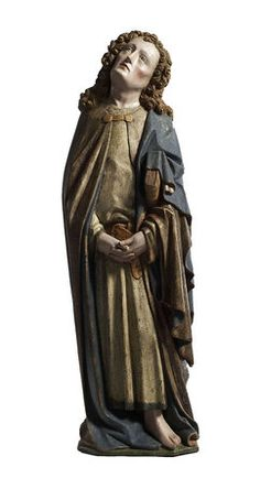 Meister der Pilsener Kreuzigungsgruppe, Trauernder Evangelist Johannes (Nürnberg ca. 1440, Liebieghaus, Frankfurt)