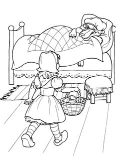 Little Red Riding Hood A Little Kid Coloring Page For Kids Free Kids Coloring Pages, Cartoon Coloring Pages, Disney Coloring Pages, Colouring Pages, Coloring Pages For Kids, Coloring Books, Red Riding Hood Party, Paper Flowers For Kids, Fairy Tale Activities