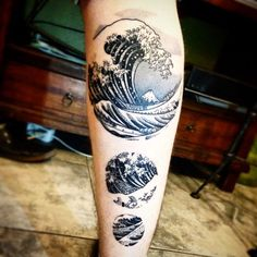 wave tattoo Hokusai