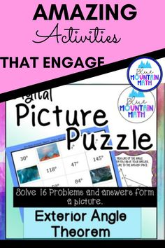 Looking for a fun way to practice using the exterior angle theorem with an engaging activity? This activity includes 16 problems in google slides where students will find the measures of angles by looking at a diagram. Once they have their answer, they will copy the picture on the slide to their answer sheet. When they have solved all the problems, a picture will appear. Great practice for distance learning and classroom as well. Or assign for homework.