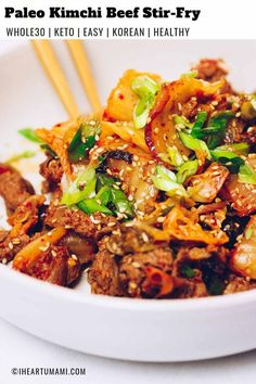 Easy and flavorful Paleo kimchi beef stir-fry with shaved beef steak stir-fried in napa cabbage kimchi juice. This beef kimchi stir-fry is nutritious low carb and with minimal ingredients ready in 20 minutes! Lamb Recipes, Paleo Recipes, Asian Recipes, Real Food Recipes, Paleo Ideas, Yummy Food, Ethnic Recipes, Enchiladas Potosinas, Healthy Stir Fry