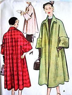 LUXURIOUS Swing Back Coat Pattern McCall 8294 Gorgeous Full Coat in 2 Lengths Lovely Deep Cuffs Bust 32 Vintage Sewing Pattern Aird wears a red swing coat in film with Dress Making Patterns, Vintage Dress Patterns, Coat Patterns, Clothing Patterns, Vintage Outfits, Retro Outfits, Vintage Dresses, Patron Butterick, Retro Fashion