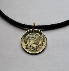 1983 Cyprus 1 cent coin pendant charm necklace jewelry stylized Bird birds tree branch Cypriot currency island Mediterranean Sea No.000793 by acnyCOINJEWELRY on Etsy