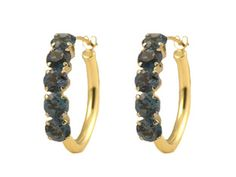 14K Yellow Gold London Blue Topaz Hoop Earrings (Online at Gemologica.com)
