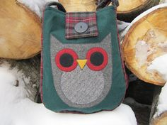 Owl crossbody totebag recycled wool fabric by granniesraggedybags, $30.00