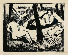 Available for sale from Galerie Herold, Erich Heckel, Szene im Wald Litograph on Velin, × 54 cm George Grosz, Ernst Ludwig Kirchner, Expressionist Artists, Limited Edition Prints, Printmaking, Landscape Paintings, Illustration Art, Artsy, Drawings