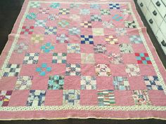 Vintage Handmade Quilt, Pink with Multicolored Squares, Yellow Edge, White Backing, Blanket/Throw by eddysmercantile on Etsy