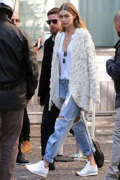 Gigi Hadid wearing Re/Done the Muscle Tee in Optic White, Jonathan Simkhai Braided Pearl Jacket, Reebok Classic Leather White Sneakers and Rag & Bone Dre Jeans in Carter