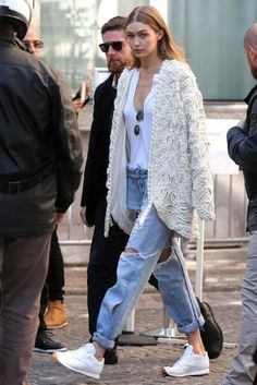 Gigi Hadid wearing Re/Done the Muscle Tee in Optic White, Jonathan Simkhai Braided Pearl Jacket, Reebok Classic Leather White Sneakers and Rag & Bone Dre Jeans in Carter
