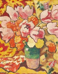 Bouquet de tulipes au pichet vert by Louis Valtat (1869-1952), French artist associated with the Fauves (mutual art)