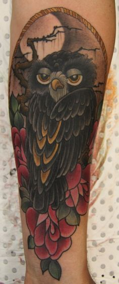 Shane is planning on filling his leg with owl tattoos and this one is just too cute