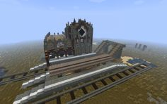 Central Station Minecraft Castle, Minecraft Stuff, Minecraft Ideas, Minecraft Buildings, Building Map, Minecraft Decorations, Minecraft Creations, Central Station, Block Party