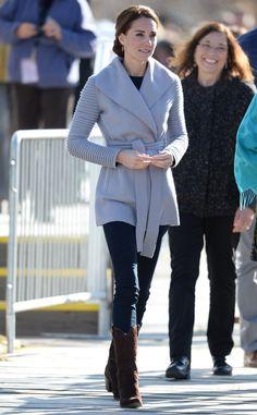 Love this Coat! Sentaler Ribbed Sleeve wrap coat. Kate Middleton, Catherine, Duchess of Cambridge, Canada