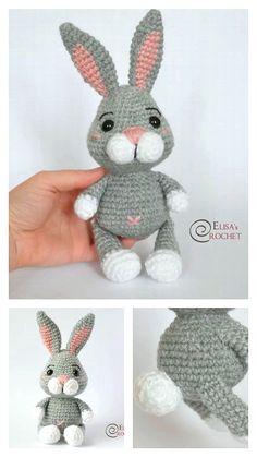 Crochet Rabbit Free Pattern, Easter Bunny Crochet Pattern, Crochet Amigurumi Free Patterns, Crochet Animal Patterns, Free Crochet, Minion Crochet, Popular Crochet, Crochet Books, Crochet Projects