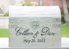 Extra Large Vintage / Shabby Chic Wedding Card Box With Card Slot- Treasure Chest Trendy Wedding, Wedding Pics, Our Wedding, Dream Wedding, Chic Wedding, Wedding Ideas, Wedding Dresses, Wedding Gift Card Box, Wedding Boxes