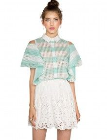 organza stripe mint top