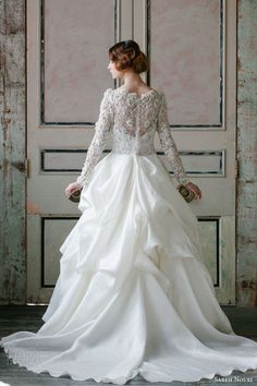 sareh nouri spring 2015 off shoulder long sleeve wedding dress asi back view