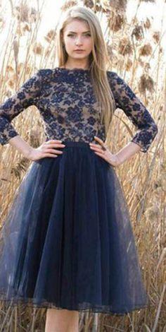 Long Sleeve Navy Homecoming Dresses, V-back Homecoming Dresses,