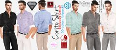 Hello Friends. Corito shirt is our exclusive original mesh  a must have for this autumn. It comes in 6 single colors and a Fatpack with 65 color options.  It is compatible with Slink, Belleza Jake, Signature, Aesthetic, Adam, TMP with the use of alpha hud. Also it fits perfect with all our original designs mesh pants and you can make a unique outfit from a formal to a casual jean one:-)…