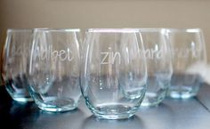 Ditch the boring wine glasses and customize your own with this simple #DIY project. #wine