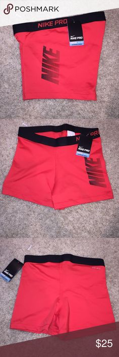 Nike Pro Orange Spandex Running Shorts Brand new Nike shorts with Nike Dri Fit Hypercool material. Bright orange and black in color. Perfect for a run or workout. No trades. Nike Shorts