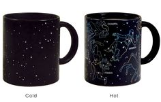 Constellation Mug for Stargazers I have a solar system mug in which I drink my coffee, but I'd love to have this one for tea. The constellations become visible when the cup is heated by a warm liquid.