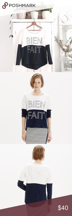 "🆕 Listing! Madewell bien fait setlist pullover This cozy colorblock pullover has a slouchy fit and a raw-edged neckline for a pop-it-on-over-everything feel. It's particularly special embroidered with our signature graphic (bien fait means ""made well"" in French). Great condition!   True to size. Cotton. Machine wash. Import. Item C4578. Madewell Sweaters"