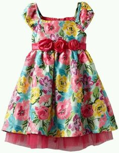 Nannette Girls Colorful Floral Printed With Tulle, Bright Pink,