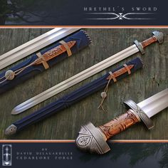 Beautiful custom hand forged sword, called 'Hrethel', after the king of the Geats, in Beowulf .