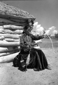 Navajo Weaver With Basket Native American Indians