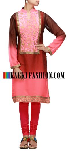 Buy Online from the link below. We ship worldwide (Free Shipping over US$100) http://www.kalkifashion.com/dyed-kurti-in-brown-and-pink-with-zari-embroidery.html Dyed kurti in brown and pink with zari embroidery