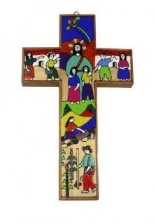EL SALVADOR CROSS JESUS WITH CHILDREN 20CM: This 20cm cross was hand painted in El Salvador. It is one of the most popular available and features Jesus surrounded by children performing different tasks, going to school, playing, washing, farming. Also available in other sizes.