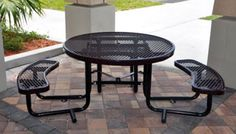 Metal picnic tables with perforated metal are ideal because they are very durable and super easy to clean. You can also find ADA versions for the handicapped as well.