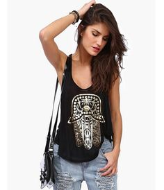 856d27f7578896 New 2017 Gold Hamsa Hand Print Sexy T Shirt Women Tops Hot Sexy Sleeveless Loose  Tanks Punk I Shape in the Back Casual Tops