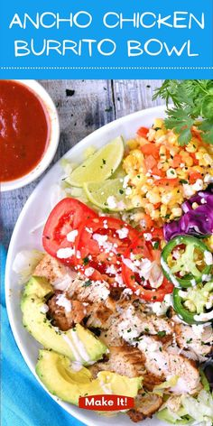 This delicious Ancho Chicken Burrito Bowl is perfect for on-the-go meal prep including all the ingredients without the high carb tortilla. Fresh corn salsa is the perfect pairing.