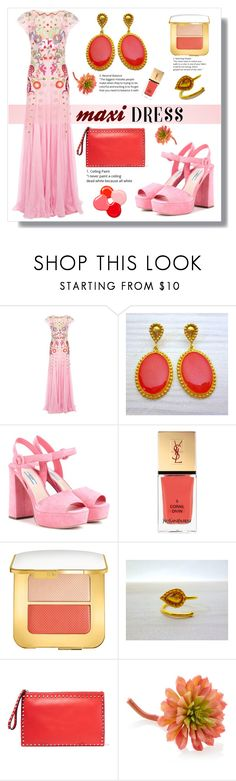"""""""Floral Dress - Evangelos Jewellery"""" by evanangel ❤ liked on Polyvore featuring Temperley London, Prada, Yves Saint Laurent, Tom Ford, Valentino, Gold Eagle and vintage"""